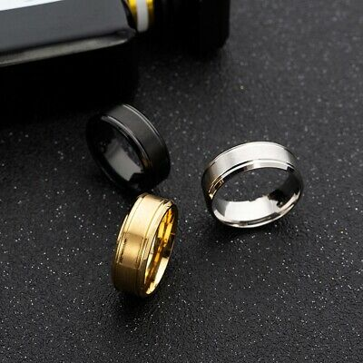 Fashion Women Men Stainless Steel Finger Band Ring Engagement Jewelry Size 6-13