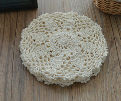 6 Round Cream Crochet Lace Doilies Lot French Country Wedding Coasters
