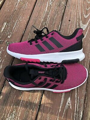 Adidas Girls CF RACER TR K Youth Size 4 PINK BLACK Running Shoes NEW
