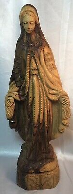 """Madonna Hand Carved Virgin Mary Stepping on Snake 13"""" High, Wooden"""