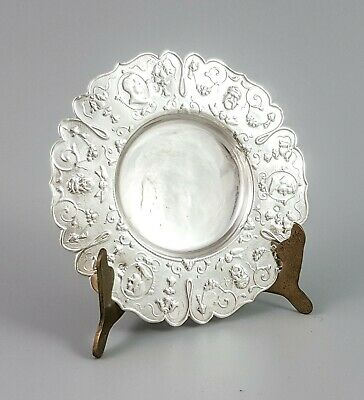 Antique Victorian 833 solid silver Dutch export trinket pin dish embossed round