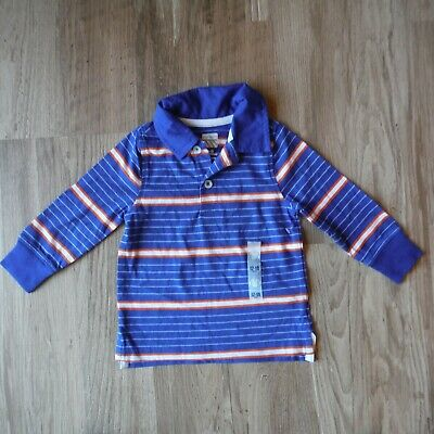 Boys Old Navy  Blue, orange white striped  Polo shirt size 12-18 months New tags