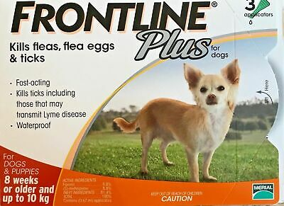 Frontline Plus 3 Pack / 3 Months Supply For Dogs 0-22lbs 0-10KG Orange New