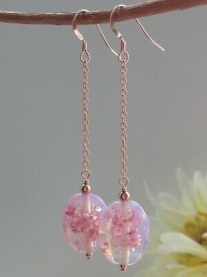 Art Deco Oval Pink Opalescent Foil Glass 14ct Rolled Rose Gold Earrings