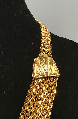 "Vintage Lucien Piccard Chunky GP Egyptian Revival Multi-Strand Necklace 27"" L"