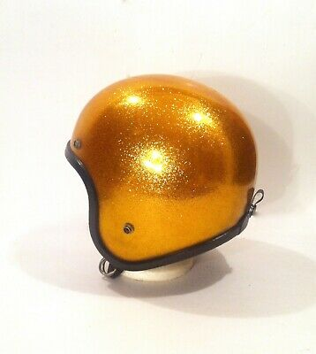 Vintage 1970's ASE Allsport Gold Sparkle Motorcycle Bell RT Style Helmet NICE