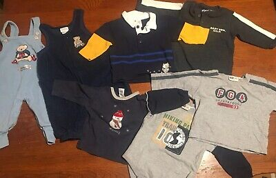 Pre-owned- MIXED LOT/  2 OVERALLS + 5 LONG SLEEVED SHIRTS -BABY BOYS- 3-6 Months