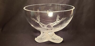 Lalique Igor Dolphin Crystal Bowl - Footed-Dolphin Feet- 6In X 7In-France-Signed