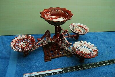 Antique Victorian Cast Iron Candle holder Table Sconce ornate swinging arms