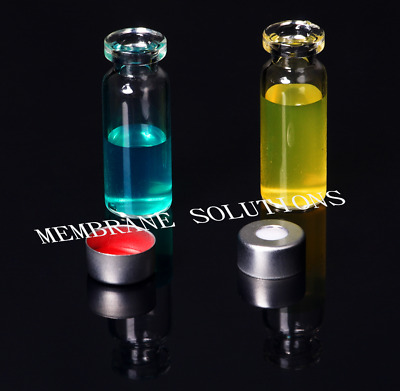 100pcs/Pack 2ML Mini Vials Clear Glass HPLC GC Storage Bottle Crimp Top +Caps