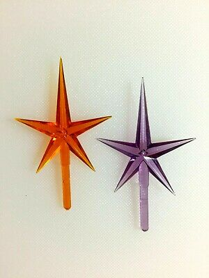 "PURPLE and ORANGE MEDIUM STAR Ceramic Christmas Tree TOPPERS 1.75"" Wide"