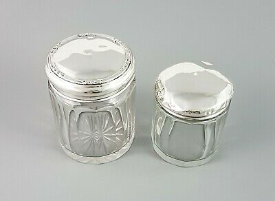Antique sterling silver cut glass 2 vanity table round pots jars pair Edwardian