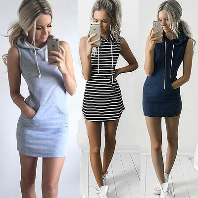 Womens Summer Sleeveless Hooded Hoodies Mini Dress Jumper Tops Bodycon Size 6-14