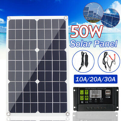 50W 12V Dual USB Flexible Solar Panel Battery Charger Kit Car Boat + Controller