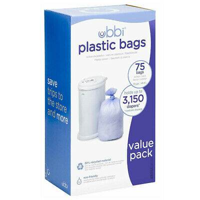 Ubbi Bin 75 Pack Plastic Liner Bag Up To 3,150 Newborn Nappy Diaper