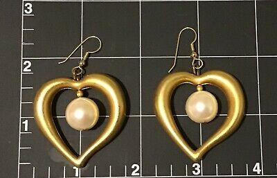 "STATEMENT Drop/Dangle Gold tone Earrings Hearts w/ Imitation Pearl 2.25"" Chunky"