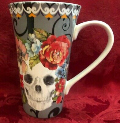 Halloween  Tall Cup Mug Marbella Scull 6.5 in high New 222 Fifth Grey New