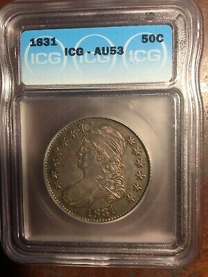 1831 Capped Bust Half Dollar ICG AU-53.  Nice Toning.  No Scratches or Dings.