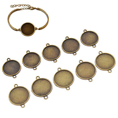 10pcs Antique Bronze Cabochon Bracelet Base Blank Round Setting Tray Accessories
