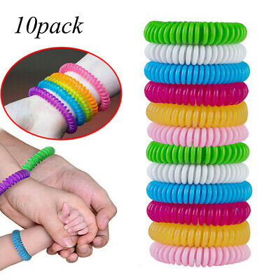 10 Pack Natural Mosquito Repellent Bracelet Bug Insect Protection Deet-Free CA
