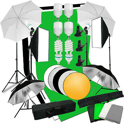 Photo Studio LED Softbox Umbrella Lighting Kit Background Support Stand Backdrop