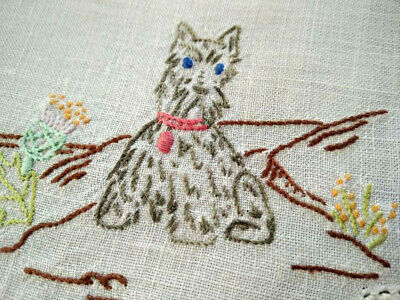 'Bonny Scotland' Scotty Dog & Thistle  Vintage Hand Embroidered Doily