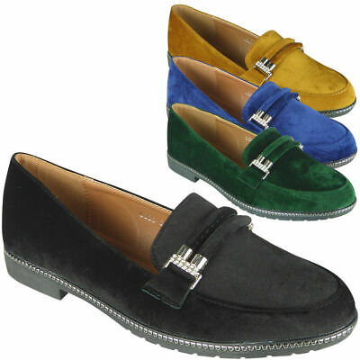 Womens Velvet Loafers Ladies Brogue Slip On Flats Work Office School Shoes Size