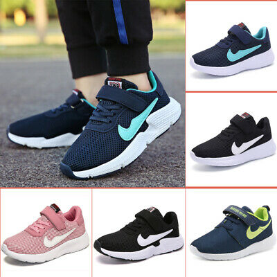 UK Boys Girls Running Trainers Kids Sports Shoes Hook Loop Mesh School Sneakers