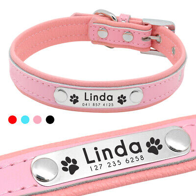 Personalised Dog Collar Leather Padded Pet Puppy Cat Dog Collars for Chihuahaua