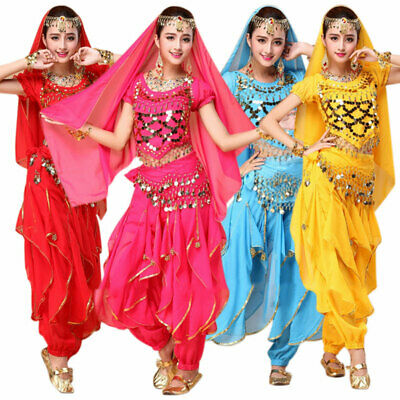 4Pcs/set  Women Ladies Dancing Costume Belly Dance Costume Bollywood Costume AU