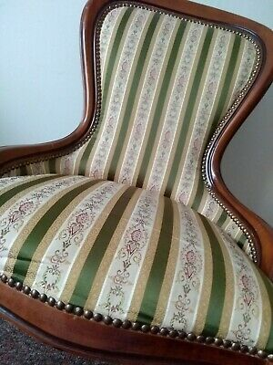 A Victorian Style Nursing Chair Low Spoon Back Green Beig Striped Fabric Bedroom