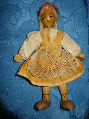 ANTIQUE  Wooden  DOLL TOY  Folk origin Hand carved HANDPAINTED Rare