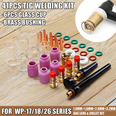 41pcs TIG Welding Torch Stubby Gas Lens Glass Nozzle Cup Kit For WP-17/18/26
