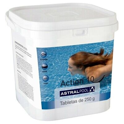 Cloro Astralpool Action-10 Tabletas Multiaccion 250gr 5Kg