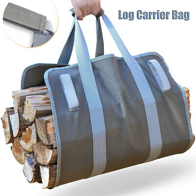 Portable Firewood Log Carrier Wood Carrying Bag for Fireplace 16oz Waxed Camping