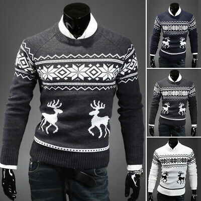 Men's Casual Round Neck Snowflake Knit Sweater Pullover Knitwear Jumper Coat Top
