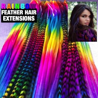 Feather Hair Extensions Rainbow 100% REAL Feathers LONG 7pc Tools MicroBeads Kit