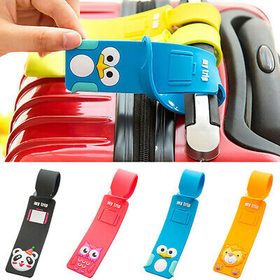 5Pcs Animal Silicone Travel Luggage Suitcase Bag Message Identify Tag Label Cute