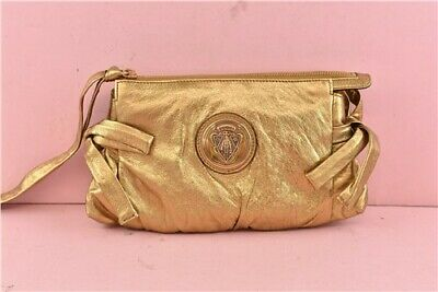 GUCCI Hysteria Women's Clutch Bag handbag Genuine Leather Metallic Gold Small