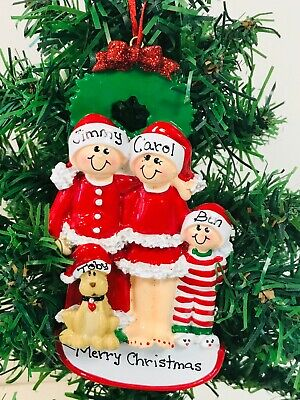 Personalised Family of 2,3,4,5 Ornament/Decoration Christmas Eve Family With Dog