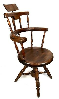 Antique Victorian Wooden Elm Rotating Barbers Chair / Shop Display Furniture