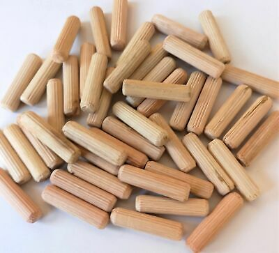 8mm x 25mm Hardwood Wooden Dowels Chamfered Fluted Pin Wood Dowels x 50