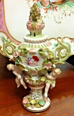 Antique 19th Century Hand-Painted German Porcelain Perfume Bottle with Putti