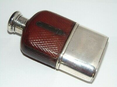 GREAT ANTIQUE 1881 SILVER LID LEATHER COVERED HIP FLASK with CUP BASE by G BRACE