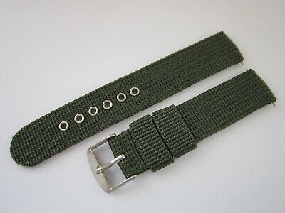 Gents 18mm Green Nylon Military Style Watch Strap-Stainless Steel Buckle & Pins