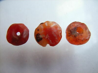 3 Ancient Roman Carnelian Beads, 1 Bead Etched, Romans #3ARB