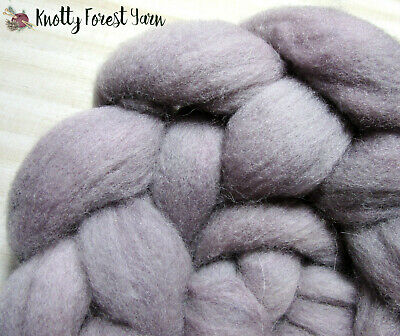 3oz Hand Dyed Wool Roving LILAC CLOUD by Knotty Forest Yarn for Spinning Felting