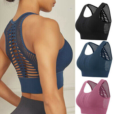 Womens Yoga Sports Bra Fitness Stretch Workout Seamless Racerback Padded Tops