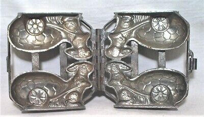 Antique Rabbit Pulling Easter Egg Cart Pewter Ice Cream / Chocolate Double Mold