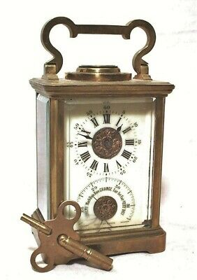1800s FRENCH CARRIAGE CLOCK WEATHER STATION W/ BAROMETER - COMPASS - THERMOMETER